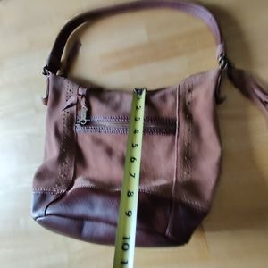 the sake suede & leather brown bag 2 straps